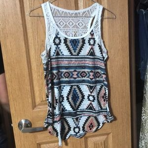 Tops - Aztec and lace tank top